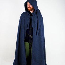 Mantello medievale con cappuccio, blu