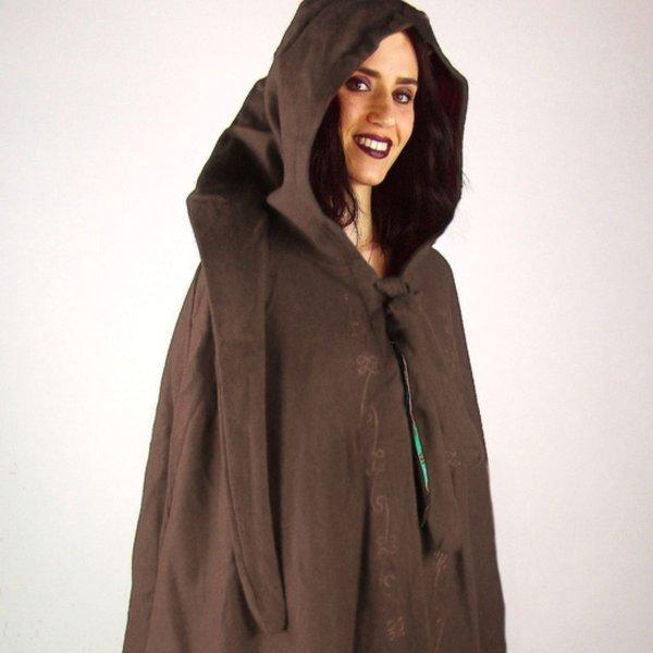 Embroidered cloak Damia with fibula, brown