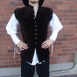 Velvet doublet with metal buttons, brown