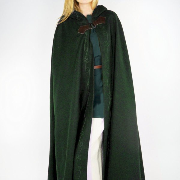 Leonardo Carbone Embroidered cloak Damia with fibula, green