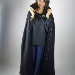 Gestickte Mantel Damia mit Fibula, schwarz