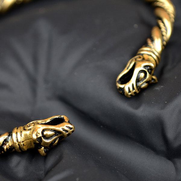 Viking armbånd med ulv hoveder