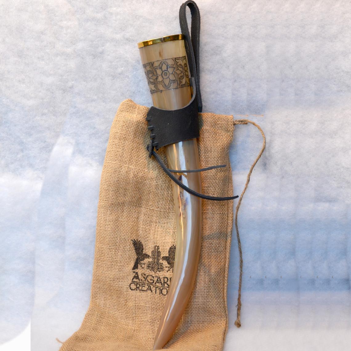 Windlass Steelcrafts Corne à boire Freya avec support en cuir