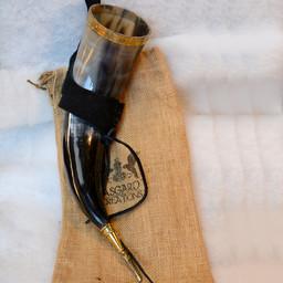 Drickshorn Odin med läderhållare