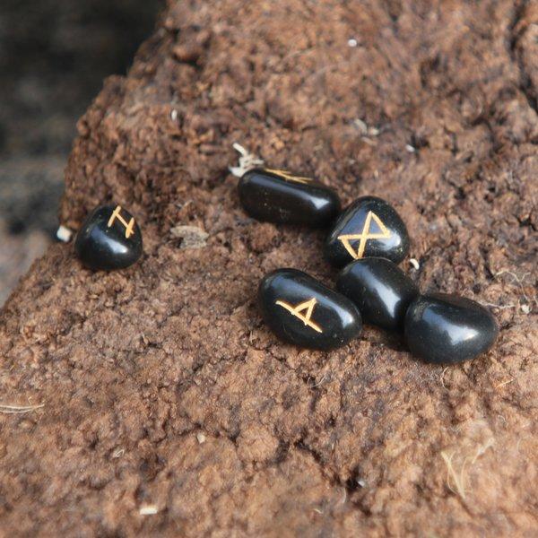 Windlass Kamień runiczny zestaw 25 obsydianowych kamieni z torbą