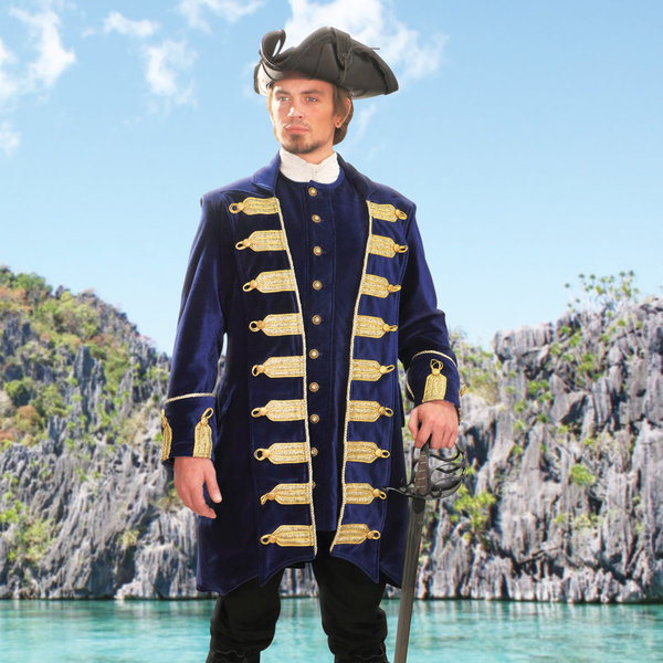 Windlass Steelcrafts Piratfrakke Captain Flint blå fløjl