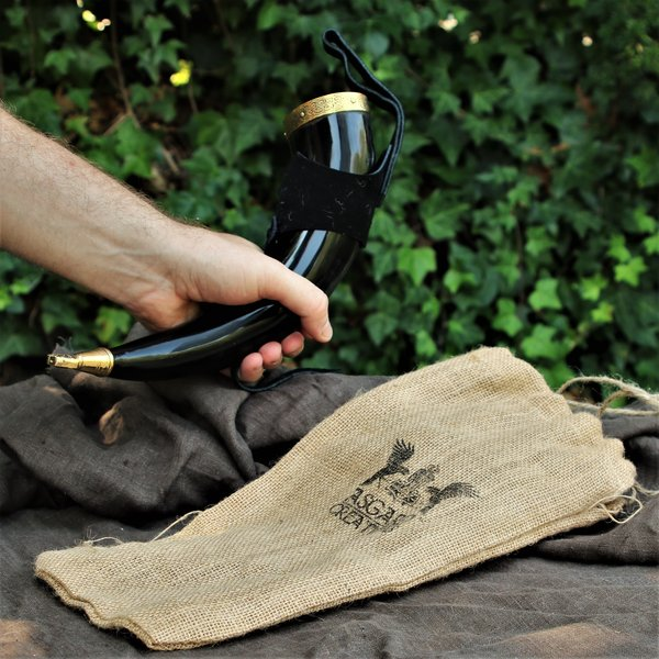 Windlass Drinking horn Rollo with leather holder