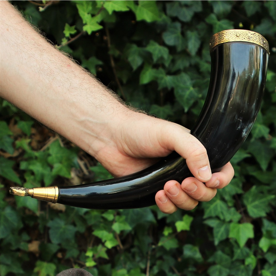 Windlass Steelcrafts Drinking horn Rollo with leather holder
