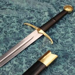 Dwuręczny miecz rycerski gotowy do walki ze skórzaną pochwą
