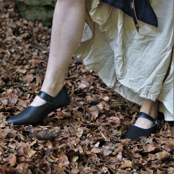 Epic Armoury Middelalderlige damer sko Astrid, sort