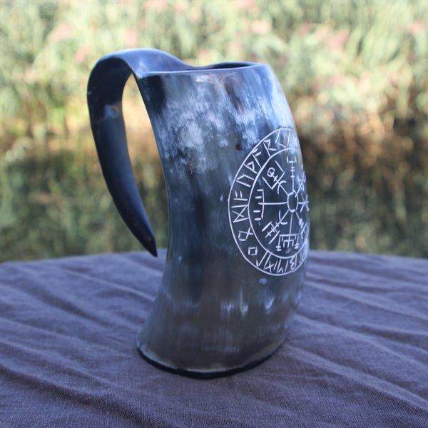Epic Armoury Viking horn cup Vegvisir dark 0,5L