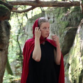 Velvet cloak without lining, red