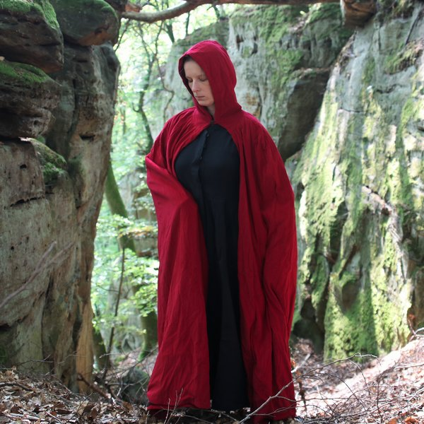Fluwelen mantel met voering, rood
