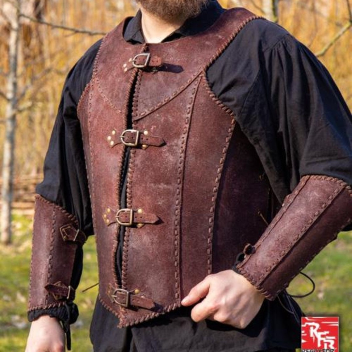 Epic Armoury Brigandine met riemen, bruin