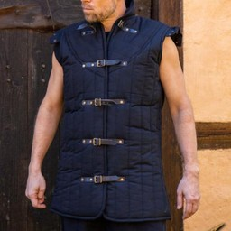 Middeleeuwse gambeson Warrior zwart mouwloos