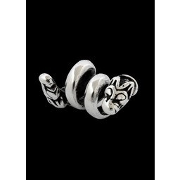 Viking beard bead with wolf silver