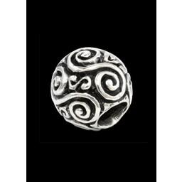 Broda koralik z podwójnym srebrnym spiralnym