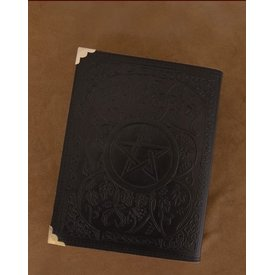 Sort læder bog med Pentagram ca. 23 x 18 cm