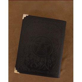 Svart läder bok med Pentagram, ca. 23 x 18 cm