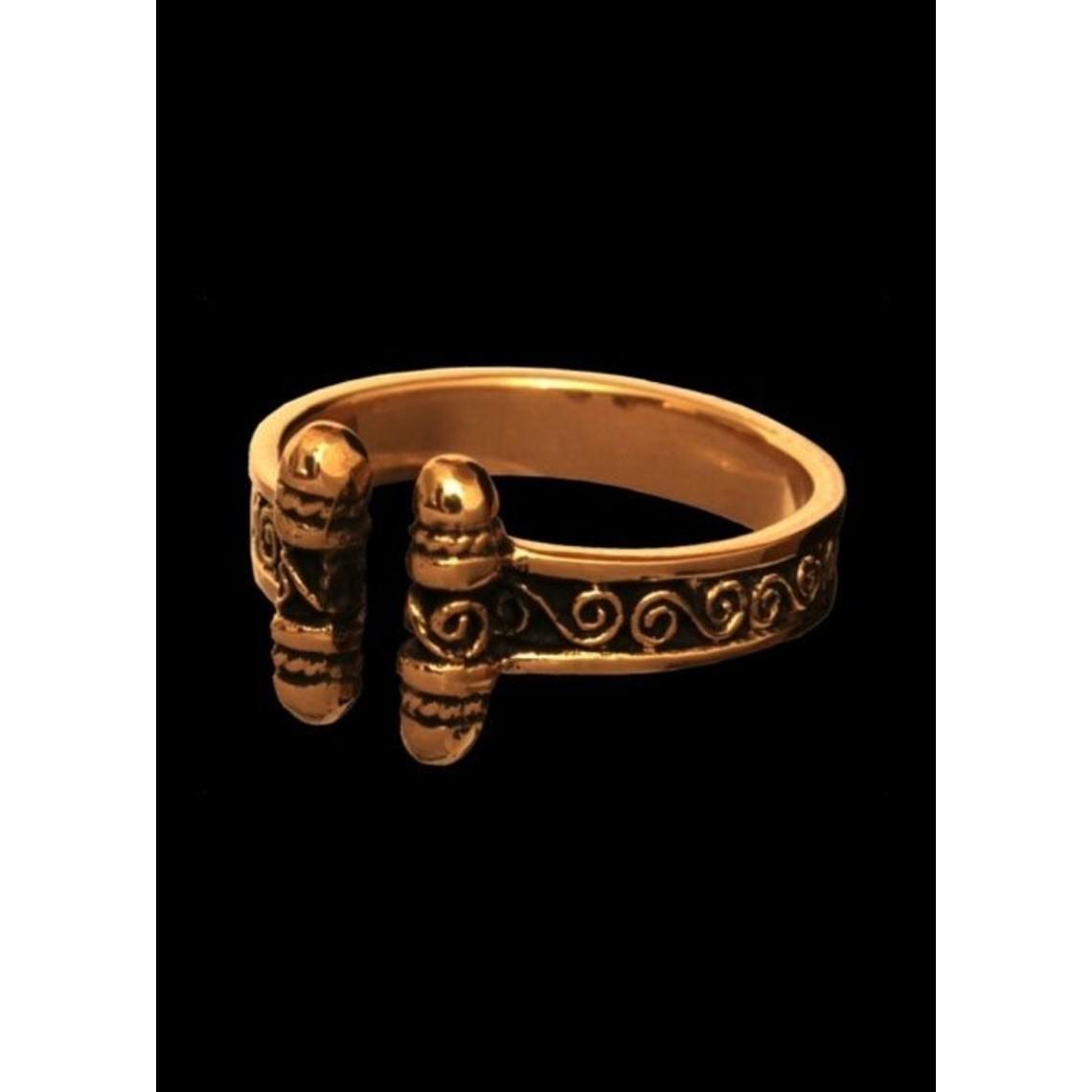Viking Pierścionek z spirale, brąz