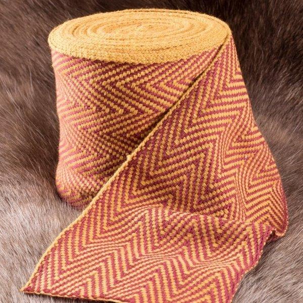 A spina di pesce motivo di tessuto giallo-rosso, 10 cm di larghezza, a 7 metro