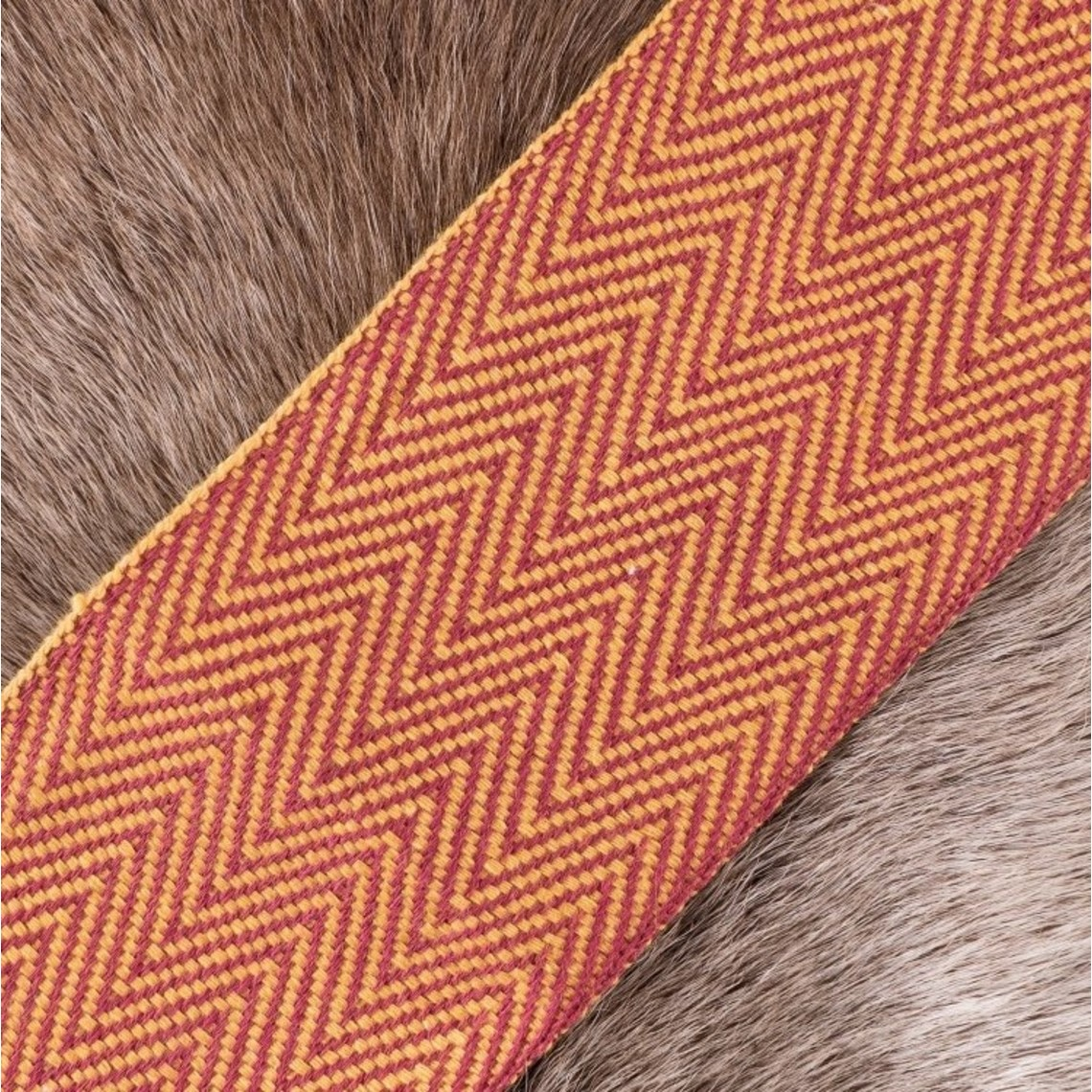 Herringbone motif fabric yellow-red, 10 cm wide, per 7 metre