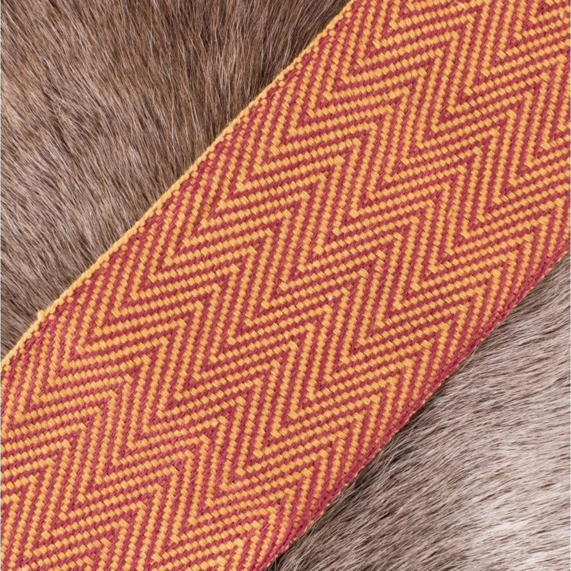 Vissegraatmotief stof geel-rood, 10 cm breed, per 7 meter