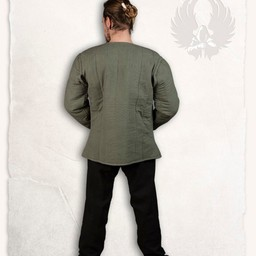 15th century gambeson Aulber, olive green canvas