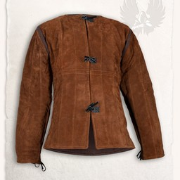 15th century gambeson Aulber suede light brown