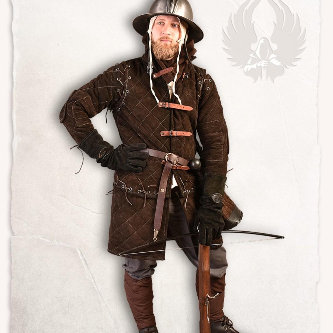Mytholon de cuero de gamuza gambesón Arthur conjunto completo de color marrón