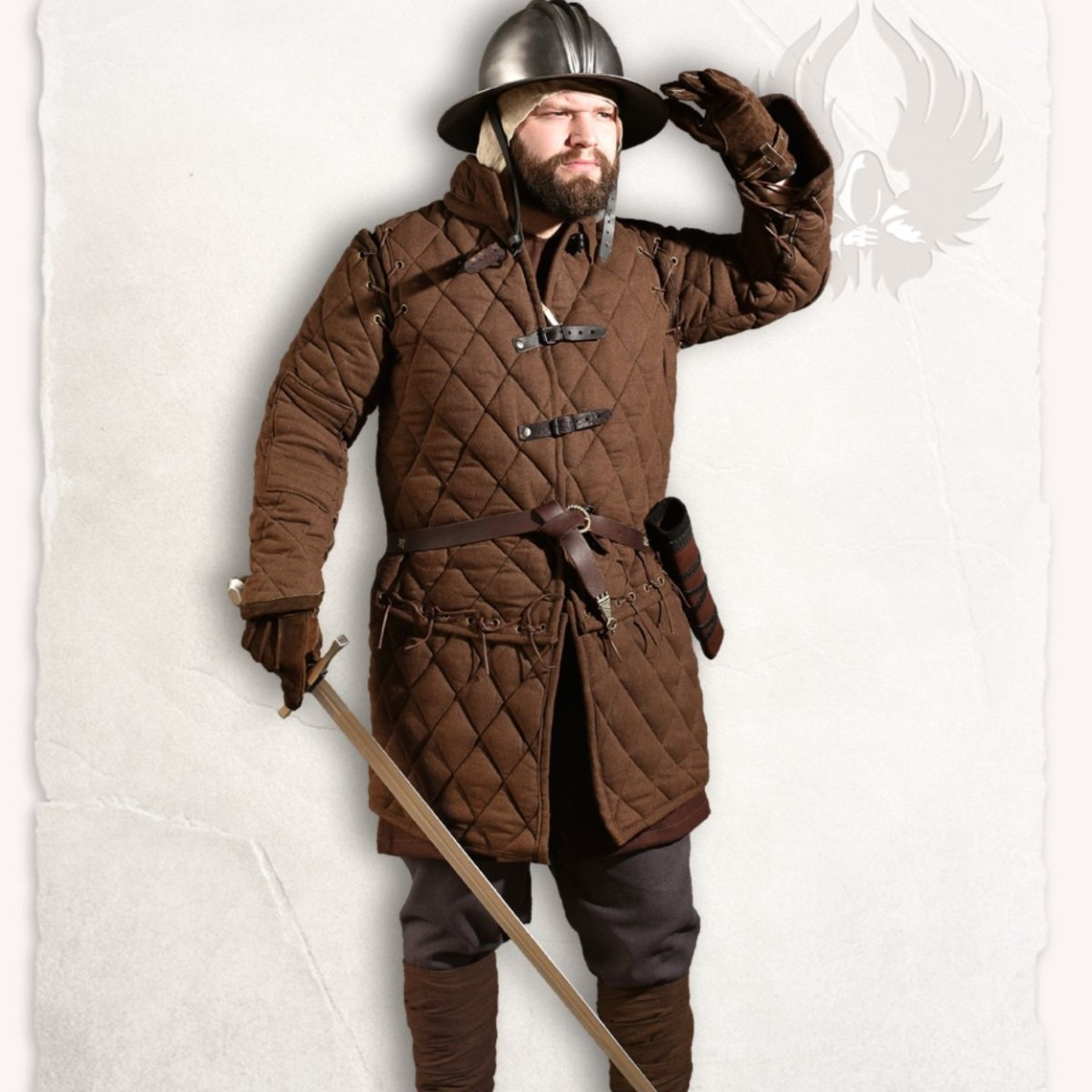 Mytholon Gambesón Arthur conjunto completo de color marrón