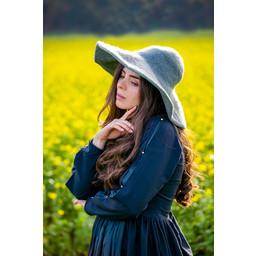 Historical brimmed hat, grey