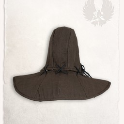 Gambeson hood and collar Aulber linen brown