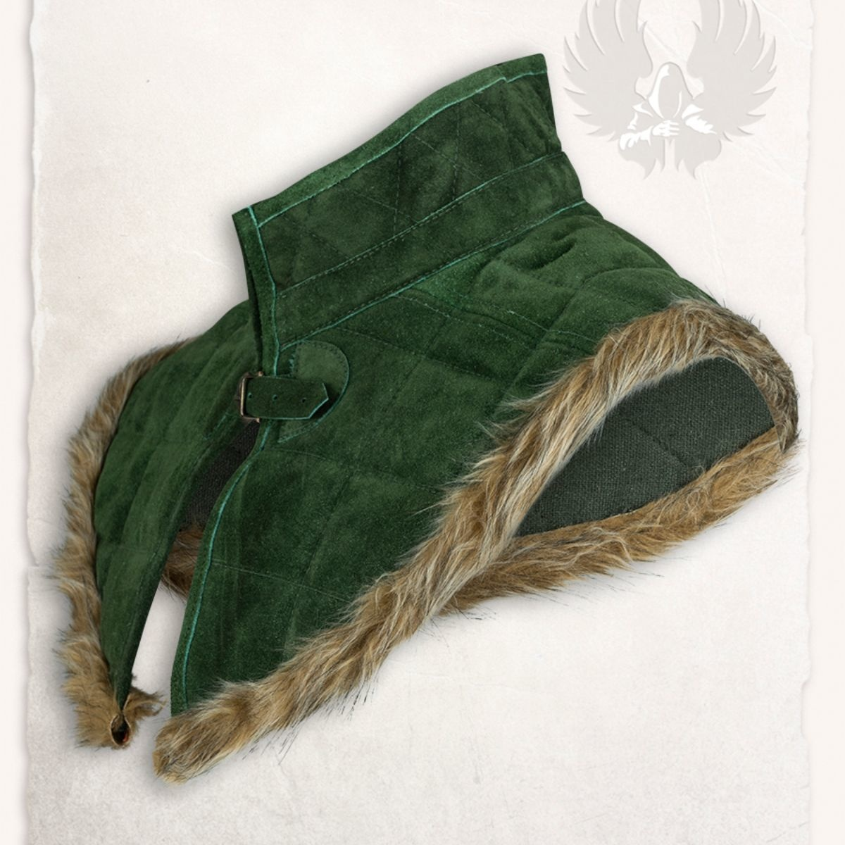 Gambeson kraag Nimue suedeleer groen