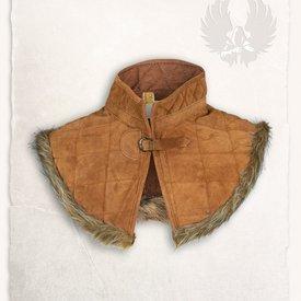 Mytholon Gambesón cuello Nimué de gamuza de cuero de color marrón claro