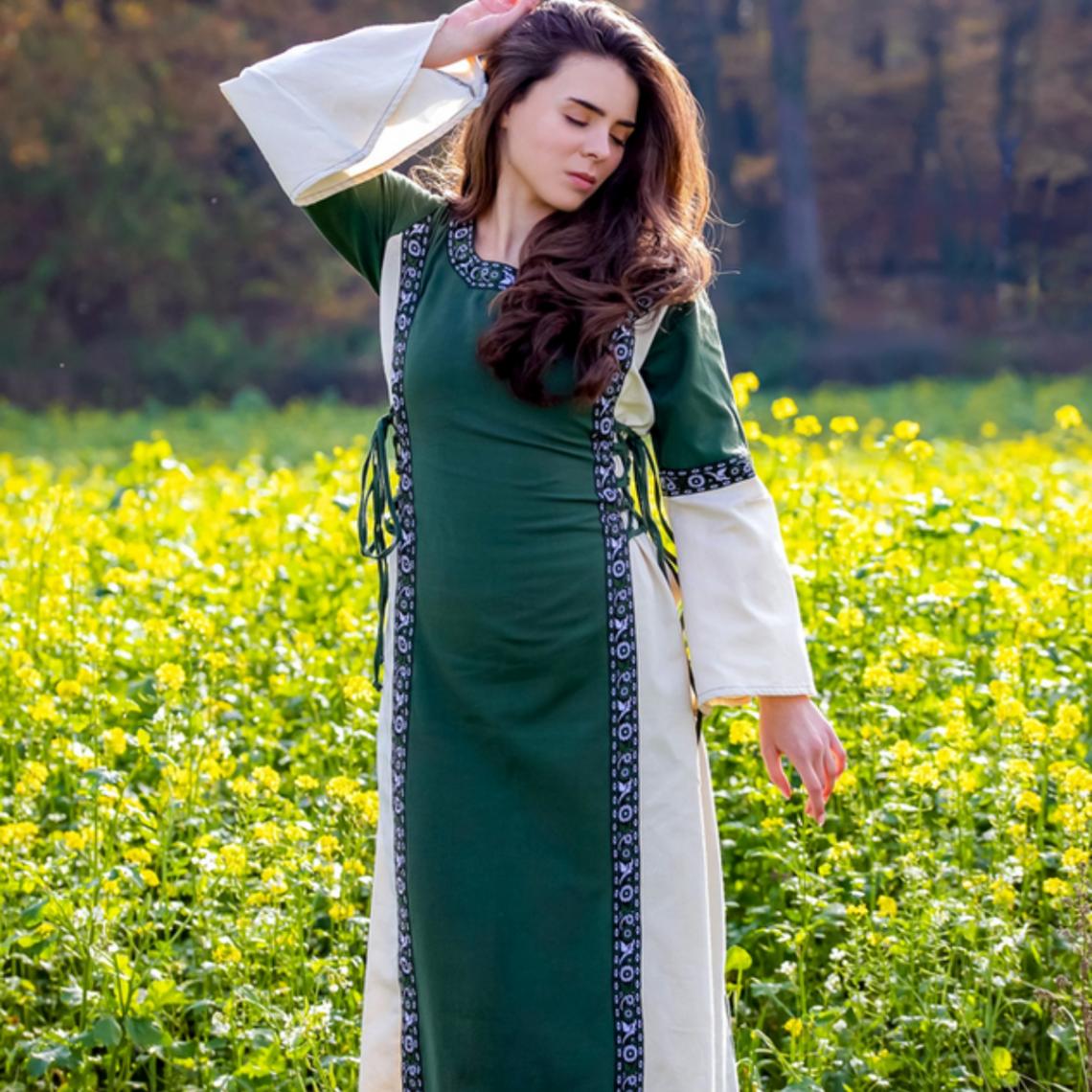 Leonardo Carbone Vestido Cleena verde-blanco
