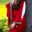 Edele geborduurde jurk Loretta, rood