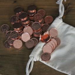50 monedas LARP con la bolsa de dinero