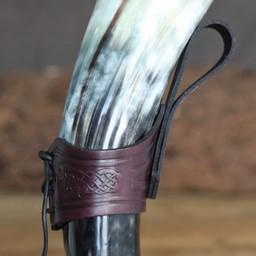 Drinking horn belt holder Castagir red