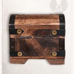 Drewniana skrzynia z kamieni szlachetnych