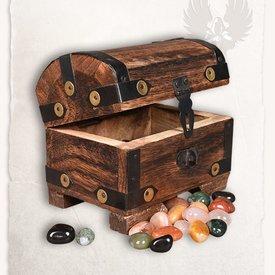 Mytholon Coffre en bois avec des pierres précieuses