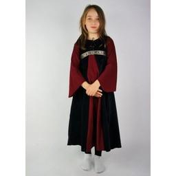 Velvet Kleid des Mädchens Ariane, schwarz-rot