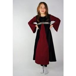 Velvet pigekjole Ariane sort-rød