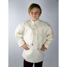Handvävd skjorta för pojkar krämfärgad