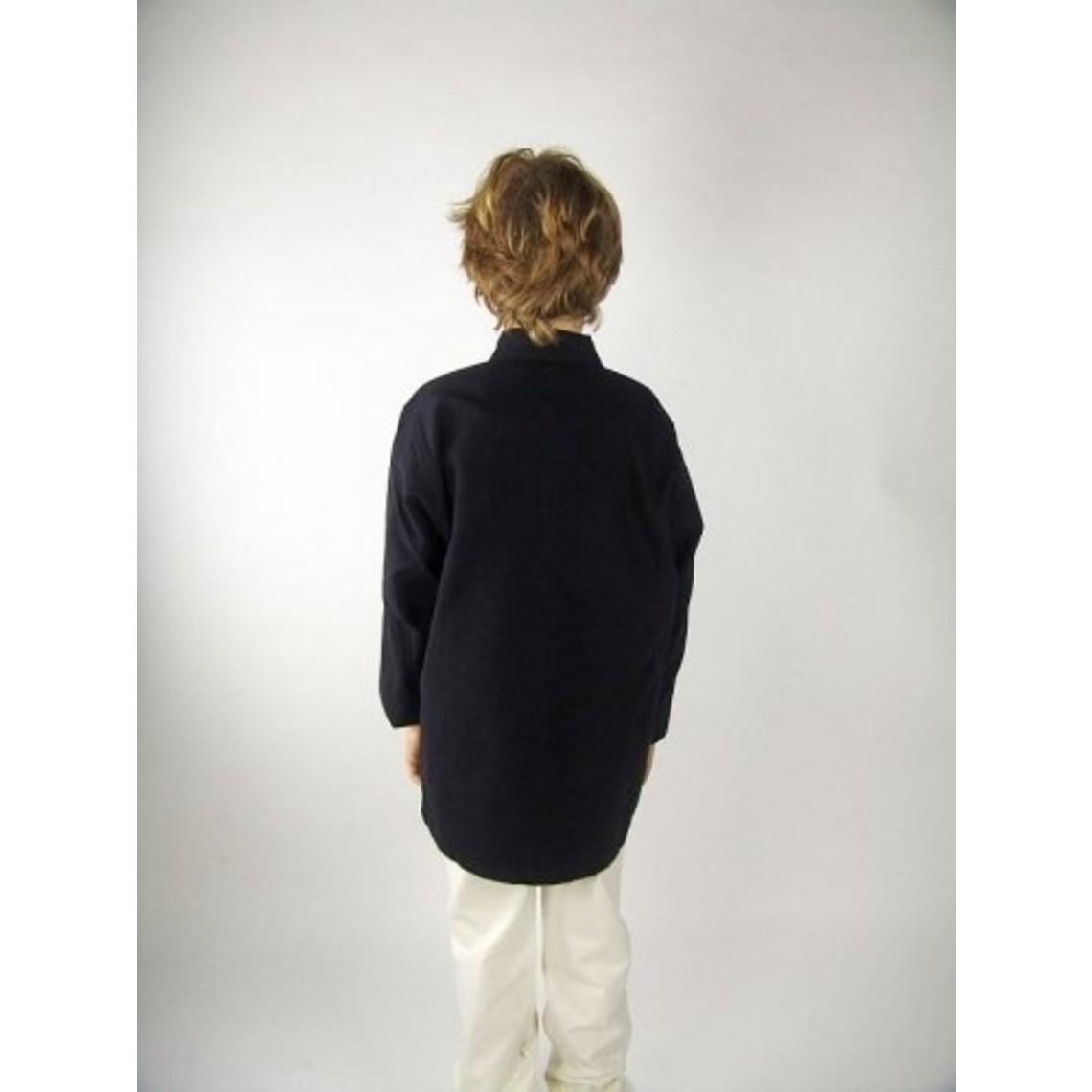 Leonardo Carbone Handgeweven hemd voor jongens zwart