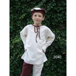 Camisa niño Peter blanco-marrón