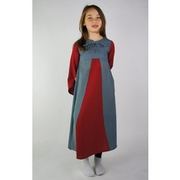 Two-coloured girl's dress white-blue