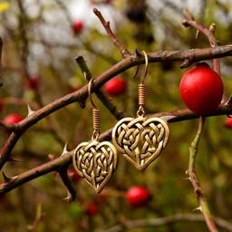 Earrings with Celtic heart, bronze