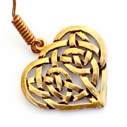 Orecchini con Cuore celtico, bronzo