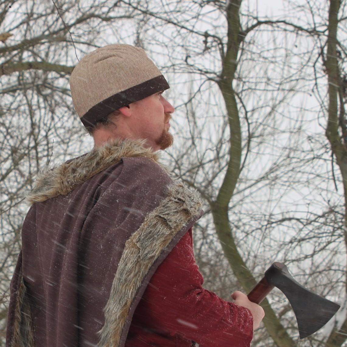 Birkamuts vissegraatmotief, bruin
